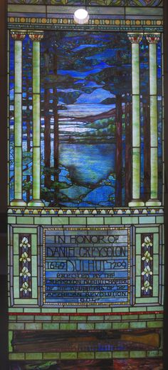 Stained glass window, Duluth, MN, by Tiffany. Edit out the top and bottom and print on clear plastic to use as a miniature window. Stained Glass Rose, Tiffany Stained Glass, Tiffany Glass, Stained Glass Patterns, Stained Glass Windows, Leaded Glass, Beveled Glass, Window Glass, Mosaic Diy