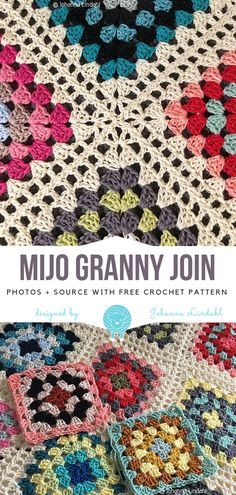 crochet afghans Mijo Granny Join Free Crochet Pattern - The library of stitches and crochet techniques is still growing, and so should yours! Mijo Granny Join is one of many beautiful techniques to join granny Crochet Flower Squares, Crochet Blocks, Granny Square Crochet Pattern, Crochet Flower Patterns, Afghan Crochet Patterns, Crochet Flowers, Crochet Ideas, Pattern Flower, Granny Square Tutorial