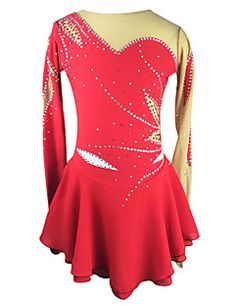 Figure+Skating+Dress+Women's+Girls'+Ice+Skating+Dress+Red+Rhinestone+High+Elasticity+Outdoor+clothing+Performance+Skating+Wear+Handmade+–+USD+$+301.98