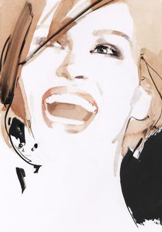 David Downton #llustration | Julia Roberts for Lancôme