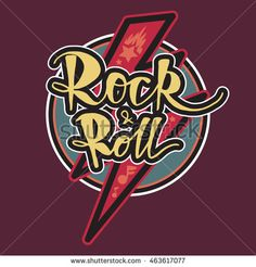 Rock and Roll Lettering for t-shirt, sticker, print, fabric, cloth. Vintage hand drawn music badge. Retro hipster musical sound emblem for card, concert flyer, fest, postcard, label, poster. Vector