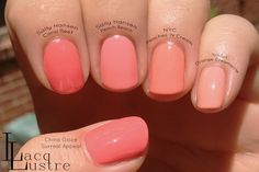 Peach nail polish comparisons: Sally Hansen Coral Reef, Sally Hansen Peach Beach, NYC Peaches 'N Cream, Sinful Colors Orange Creamsicle, and China Glaze Surreal Appeal
