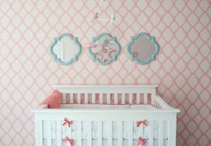 Coral-and-Aqua. Love the print on the walls and the framed mirrors.