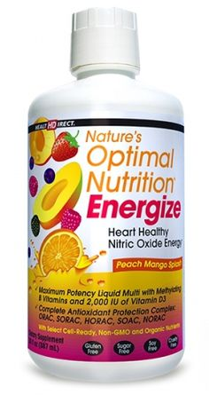 Nature's Optimal Nutrition Energize is an exclusive heart healthy, energizing liquid multi containing select organic and Non-GMO ingredients not found in any other multivitamin. $41.46