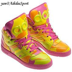 size 40 61143 e3549 Adidas Jeremy Scott Instinct Hi Neon Camo shoes Slimebright yellowOrange  HOT SALE
