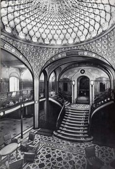 The first-class grand staircase aboard the SS Paris, ca. 1920s.