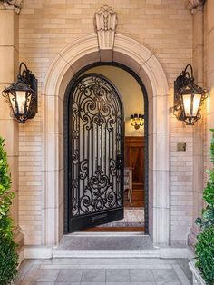 Traditional Front Door with exterior stone floors, exterior tile floors