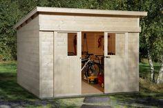 Design Gartenhaus, Holz, Lärchenholz, mit Flachdach