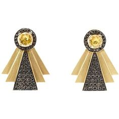 Ileana Makri Diamond Art Deco Style Earrings (6,835 BAM) ❤ liked on Polyvore featuring jewelry, earrings, gold, art deco-inspired jewelry, earrings jewellery, ileana makri jewelry, ileana makri and earring jewelry