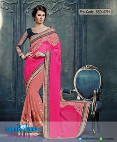 Add Grace And Charm For Your Look In This Lovely Pink & Rose Pink Chiffon, Faux Georgette Saree. The Ethnic Lace, Patch Work, Resham, Stones Work With The Attire Adds A Sign Of Attractiveness Statement With A Look. Paired With A Contrast Navy Blue Art Silk Blouse  Visit: http://surateshop.com/product-details.php?cid=2_26_66&pid=8100&mid=0