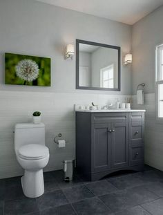 Progress Lighting Metric Collection Polished Chrome Bath Sconce with Etched White Glass Shade. Small Bathroom Remodel On A Budget Wainscoting Bathroom, Bathroom Floor Tiles, Wainscoting Ideas, Wall Tile, Gray And White Bathroom, Grey Bathroom Vanity, White Vanity, Grey Floor Tiles, Vintage Design