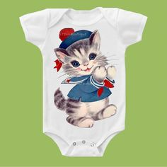 Sailor Kitty One Piece Baby, Tank or  Tee by ChiTownBoutique.etsy on Etsy, $16.00