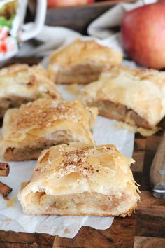 A traditional, homemade Apple Strudel recipe, with layer upon layer of flaky crust and a flavorful cinnamon apple filling! Absolutely everything you need. Apple Desserts, Apple Recipes, Just Desserts, Delicious Desserts, Dessert Recipes, Phyllo Dough Recipes, Pastry Recipes, Baking Recipes, Kitchen Recipes
