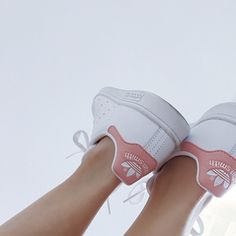 Fridays feeling fun. White and pink Stan Smith Adidas.