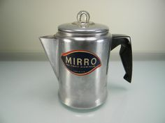 Vintage Mirro Aluminum Two-Cup Coffee Pot with Original Label