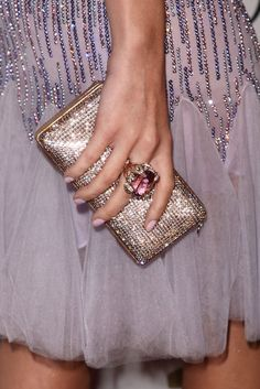pink nails and bling