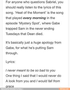 sabriel spn - Google Search // ... the song is the reason why everyone (including me) started shipping it, isn't it?