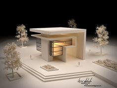 Architectual concept by Kosai Abohala Concept Models Architecture, Architecture Model Making, Modern Architecture House, Facade Architecture, Modern House Design, Conceptual Architecture, Cube Design, Design Design, Architectural Models