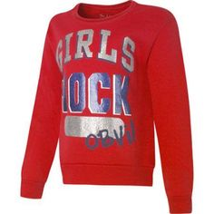 Hanes Girls' Printed Fleece Sweatshirt, Size: Large, Red
