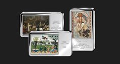 Slavné české malby se stali inspirací pro ražbu tří stříbrných cihliček, které vyobrazují věrné reprodukce originálních děl od takových mistrů jako je Alfons Mucha, Josef Lada nebo Václav Brožík.  Poprvé v historii tak můžete získat Vaši vlastní uměleckou galerii v 60 g stříbra 999/1000, kterou najdete exkluzivně pouze v nabídce Národní Pokladnice.