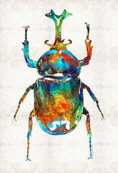 Colorful Beetle Art  Scarab Bug PRINT from Painting Insects Egyptian Symbol Primary Colors CANVAS Ready Hang Large Artwork Egypt Blue Red