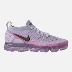 d77e1d62458 Right view of Women's Nike Air VaporMax Flyknit 2 Running Shoes in  White/Black/Hydrogen Blue/Pink Beam