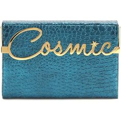 Charlotte Olympia Cosmic Vanina Metallic Embossed Leather Clutch (26 805 UAH) ❤ liked on Polyvore featuring bags, handbags, clutches, blue, leather handbags, blue handbags, real leather handbags, blue purse and metallic leather purse