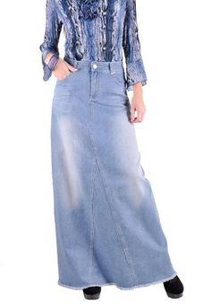 Style J Icy Blues Long Denim Skirt Blue 32