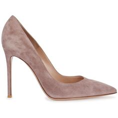 Womens High-Heel Pumps Gianvito Rossi Gianvito Dusky Rose Suede Pumps (£445) ❤ liked on Polyvore featuring shoes, pumps, slip on shoes, rose pumps, pointed-toe pumps, pointy toe high heel pumps and heels & pumps