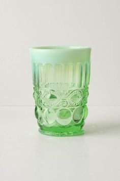 Opalescent Green Tumbler - drinking glass ... or for candles
