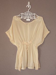 Autumn Kimono Rustic Cream Peasant Chiffon Sheer Kaftan Oatmeal Butterfly Embroidered Crochet Hem Tunic Top Cover up  $29.85