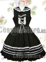Newest Black Wide Collar Bandage School Lolita Dress
