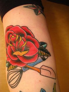 Found an idea of adding my baking to my tattoos. I want a real rose and a pastry bag and a whisk underneath. Maybe even have a cupcake! I'm having sooo many ideas!! Yay!