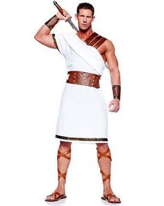Lead the other Greeks into battle this Halloween when you're wearing this Mens Greek Warrior Costume. It's a great toga costume for any historical party! Greek God Costume, Egyptian Costume, Greek Costumes, Roman Costumes, Fantasia Plus Size, Roman Toga, Roman Dress, Wholesale Halloween Costumes, Toga Party