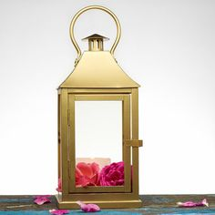 24K Solid Gold effect Outdoor Lantern Centerpiece - Gold Candle Holder - Aisle Wedding, Party, Home Decoration