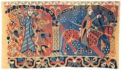 Read Art Historian Randi Nygaard Lium's background on the Baldishol Tapestry, taken from her recent book, Tekstilkunst i Norge (Textile Art in Norway). Hand Hooked Rugs, Viking Art, Penny Rugs, Medieval Art, 12th Century, Tapestry Weaving, Rug Hooking, Middle Ages, Textile Art