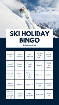 ski holiday bingo Instagram story template social media skiing snowboarding travel adventure trip Holiday Packing Lists, Skiing, Top Ski, Lunch Table, Ski Holidays, Schnapps, Bingo, Infographics, Social Media