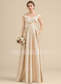 31cf2017132  US  134.19  A-Line Princess Off-the-Shoulder Floor-Length Satin Bridesmaid  Dress With Ruffle Pockets - JenJenHouse