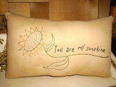 15% off SALE/ Primitive Stitchery Sunflower Pillow Tuck / You are my Sunshine..... $7.25, via Etsy.