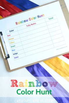 Rainbow Color Hunt: Search for all the colors of the rainbow and practice tally marks at the same time!