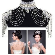 Bridal Lace Shoulder Bra Strap Halter Rhinestone Necklace Piece & Earring Set UK