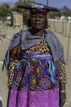 Portrait of a mature woman of the Herero tribe, in traditional-style dress.  Namibia.  Jonathan Irish