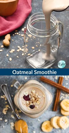 Filling and healthy Oatmeal Smoothie with peanut butter banana and cinnamon. With benefits like fiber protein healthy fats and whole grains this vegan breakfast smoothie will keep you full for hours! Great for breakfast kids and for weight loss too! Vegan Breakfast Smoothie, Vegan Smoothies, Vegan Breakfast Recipes, Smoothie Diet, Vegan Recipes, Breakfast Healthy, Healthy Oatmeal Smoothies, Smoothies With Oats, Healthy Peanut Butter Smoothie