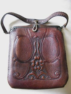 0a5a601f0b Antique Art Nouveau Hand Tooled Floral LG Leather Suede Lined Purse 1915  JEMCO 1