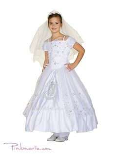 White Communion Dress with Virgin Mary Embroidery