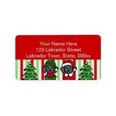 #Christmas Twin Black #Labrador Puppies Address Labels