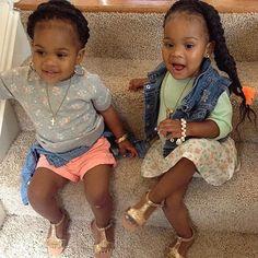 Cute Kids Black Beauties African American Extensions Box Braids