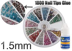 G-Beauty : 1.5mm Nail Art Tips Glitter Rhinestones 1800 Gift Glue >>> You can find more details by visiting the image link.