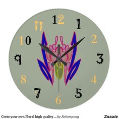 #Round wall clock for your walls or give to friends and family as a gift for a timeless treasureCrete your own Floral high quality display colors Large Clock