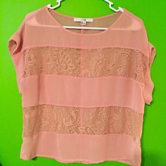Lace, see-through peach top  From Forever 21. Cute & flowy  Size Medium. Forever 21 Tops